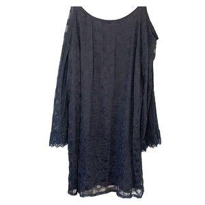 Shoulderless black dress